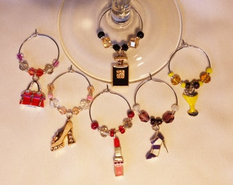 Ladies night out wine glass charms