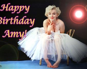 "Marilyn Monroe ""No Oscar"" 1/4 Sheet Edible Image Birthday Cake Topper. ~ Personalized!"