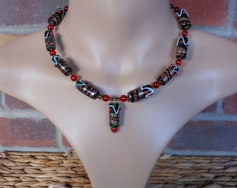 Lampwork glass necklace red, green, and gold choker