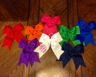 Monogrammed Ribbon Ponytail Bow