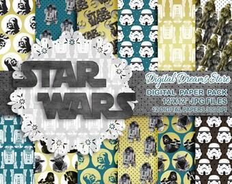 "Star Wars paper: ""STAR WARS"" digital paper patterns, Scrapbooking paper, Star Wars instant, Star Wars decoration, Darth Vader, yoda, jedi"