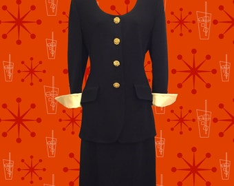 Vintage 1980's St. John by Marie Gray Knit Skirt Suit • Faceted Gold Buttons • Gold Cuffs • Size 6