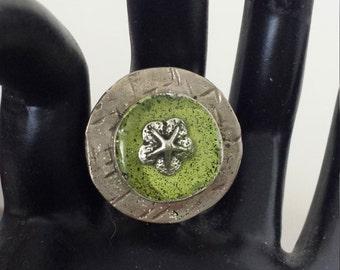 Jewelry, Ring, Beachy, White Bronze Ice Resin Ring