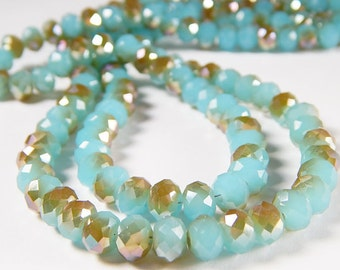 Half Strand - 35 Pcs - 6x8mm Blue And Gold Faceted Glass Rondelle Beads - Spacer Beads - Jewelry Supplies