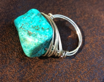 turquoise size 7 wire wrapped ring