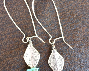 silver/ turquoise beads on a kidney ear wire