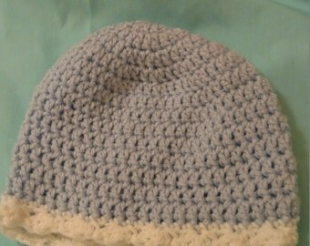 Newborn Crochet Hat with White Wavy Brim