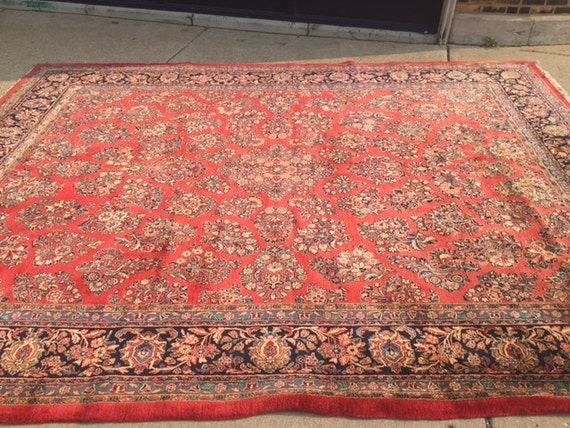 "10'6"" x 13'6"" Antique Persian Sarouk Oriental Rug - 1930s - Hand Made - 100% Wool - Vintage"