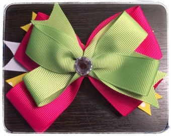 Lime Green, Pink & Yellow Boutique Stacked Bow