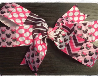 Disney Minnie Mouse Pink, Black and White Boutique Bow