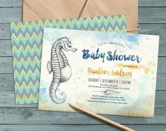seahorse beach baby shower invitation digital printable files sand sea shells