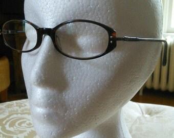 Emporio Armani eyeglasses, made in Italy // Italian designer, classic refined oval tortoise shell resin frames for women