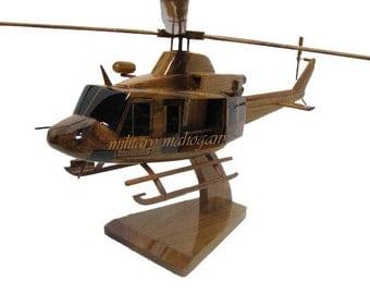 Bell 412 Huey USMC Marine Police EMS DEA Mahogany Wood Handmade Model Wooden Helicopter Father's Day Graduation Gift