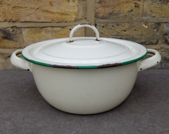 French Vintage Enamel Cream Bowl with Green Rim Bowl and Lid