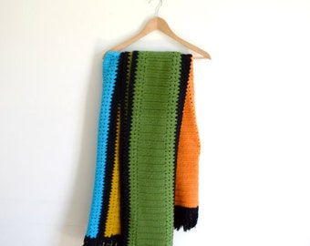 """Vintage bright colors and black striped afghan / handmade fringed knit throw / large colorful blanket / 65"""" x 48"""""""