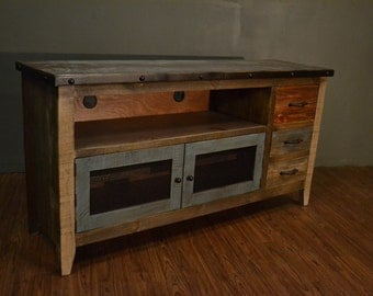 industrial rustic reclaimed wood tv stand media console console
