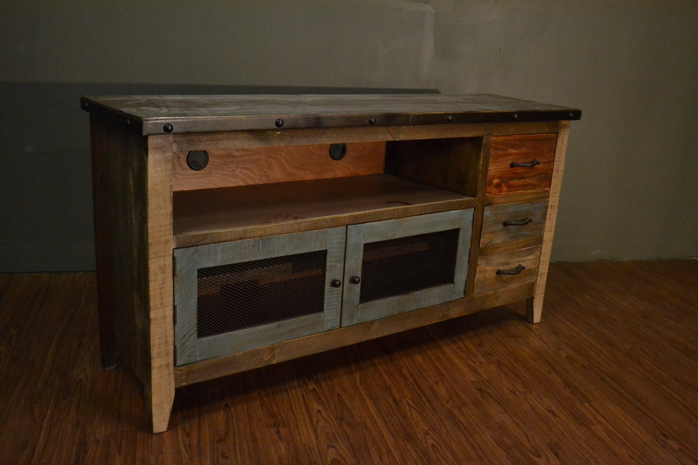 Industrial Rustic Reclaimed Wood Tv Stand Media Console
