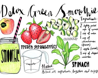 Hand Drawn Illustrated Detox Green Smoothie Recipe
