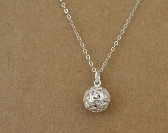 Dainty everyday wear, women's jewelry, sterling silver Filigree ball charm, simple, layer necklace