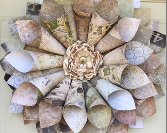 Vintage Look Cone Wreath - Paper Cone Wreath - Home & Living Decor - Door Wreath - Free US Shipping - Wall Decor