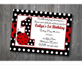 Lady Bug Birthday Invitation, Lady Bug Party Invitation, Girl Birthday Invitation