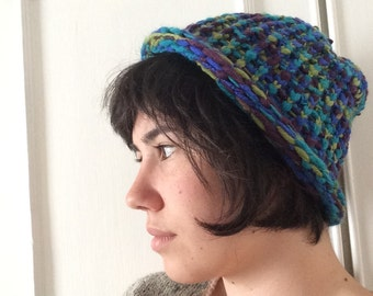 Blue, purple, green and turquoise hat