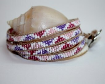 Handmade Chan Luu Style Leather Wrap Bracelet - White, Pink and Purple