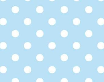 FLANNEL Blue/White Dots Fabric From David Textiles