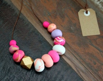 TICKLED PINK! Polymer Clay Necklace.