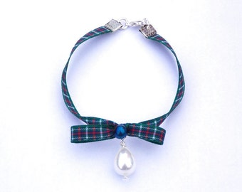 Scottish Jewellery Celtic Bracelet, MacKenzie Tartan Green Ribbon Pearl