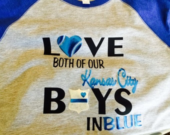 "Playoff Shirt ""Both KC Boys in Blue"" 3/4 sleeve"