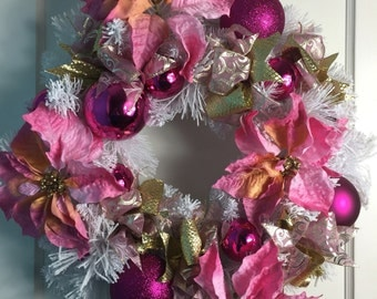 REDUCED!!!! Pretty in Pink Christmas Wreath with white lights