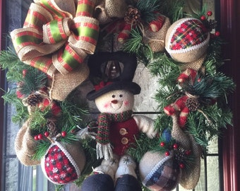 Snowman Pine Wreath