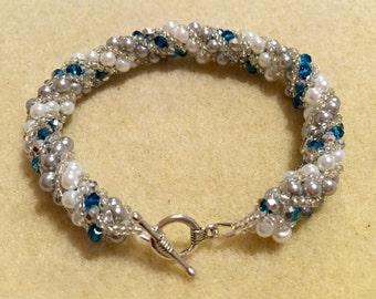 Blue and white spiral bracelet