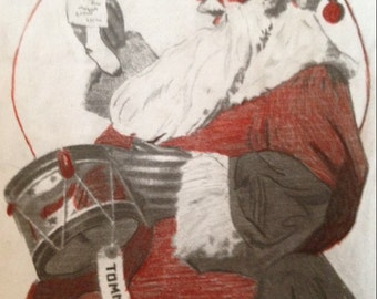 Santa claus playing drum