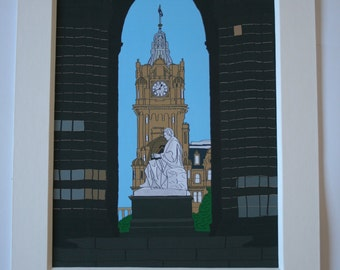 Scott monument and Balmoral hotel mounted print