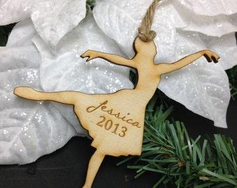 Ballerina Wood Ornament, Laser Engraved, Christmas Ornament, First Christmas, Custom Ornament, Ballerina