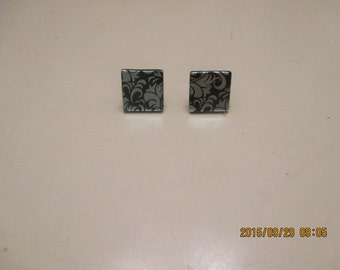 Multicolored dichoric glass tile earring