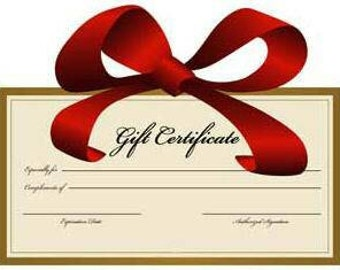 Gift Certificate for a personalized, custom made necklace....hung on a stainless steel chain..