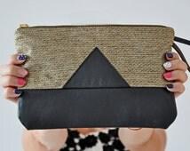 Gold Linen Clutch, Leather Handbag, Black Leather Clutch