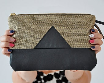 Gold Linen Clutch, Leather Handbag, Black Leather Clutch