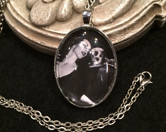 Vampira with skull Bronze or Silver Pendant Necklace Gothic Halloween Vintage Horror TV Host Horror Movie Hostess Ghoul Gang