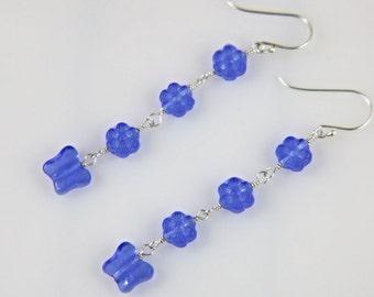 Czech blue glass bead sterling silver earrings, butterfly and flower earrings