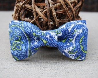 Blue and green Paisley bow tie