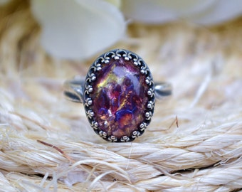 Amethyst Opal Ring, Antique Silver Adjustable Ring, Purple Opal Ring, Silver Plated Opal Ring, Purple Amethyst Glass Opal Ring