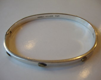 Sterling Silver 925 and Brass, Stamped,Taxco TC-155 Signed, Made in Mexico, Hinged Bracelet.