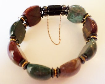 Unique Fancy Natural Stone Cabochons and Hematite Beads Bangle Bracelet with Security Chain.
