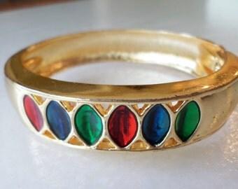Gold Tone Inlay Enamel Hinged Bracelet.