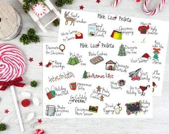 Christmas Bucket List Doodles Planner Stickers