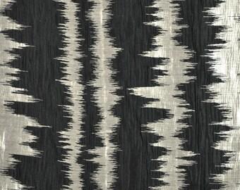 DESIGNER ETHNIC CHIC Inca Stripes Ikat Southwest Kilim Fabric 10 Yards Onyx